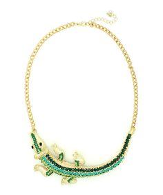 Look at this #zulilyfind! Green & Goldtone Gator Necklace by Eye Candy LA #zulilyfinds