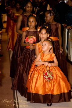 Elizabeth St John Couture-  Burnt orange and chocolate bridal party
