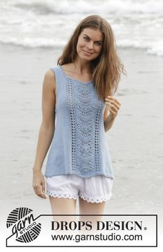 Gentle Waves - Top with lace pattern and A-shape, knitted top down. Size: S - XXXL Piece is knitted in DROPS Belle. - Free pattern by DROPS Design Sweater Knitting Patterns, Lace Knitting, Knit Crochet, Drops Design, Summer Knitting, Lace Patterns, Crochet Patterns, Top Pattern, Tops
