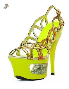 "Ellie Shoes E-604-Isla, 6"" Neon Cut Out Heel sandal with Rhinestones 8 Neon Yellow - Ellie shoes pumps for women (*Amazon Partner-Link)"