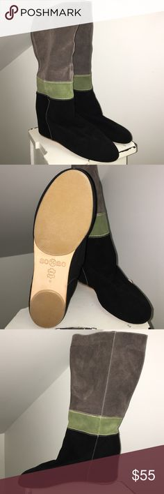80%20 NEW! Super cute and comfortable! ✨  size 9 Comfortable hidden wedge; - NOT USED- ; all leather suede; super cute! Black-Green-Grey combination .. Great quality ✨ 80%20 Shoes Wedges