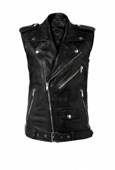 Blk Dnm leather motorcycle vest