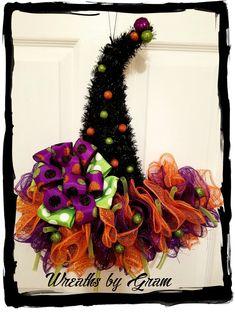 Witch Hat Wreath | Witches Hat Door Hanger | Halloween Decor | Halloween Wreath | Mesh Witch Hat | Whimsical Decor | Front Door Wreath | Witch Hat Decorations | Witch's Hat; Halloween Witch Wreath; HALLOWEEN DECORATIONS; HALLOWEEN WREATHS FOR FRONT DOOR; FALL WREATHS; AUTUMN WREATHS; HOLIDAY WREATHS;  HALLOWEEN DECORATING  #halloween #wreaths #witcheshat #halloween decor
