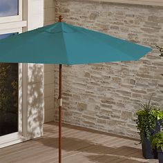9' Round Sunbrella ® Bold Turquoise Patio Umbrella with FSC Eucalyptus Frame