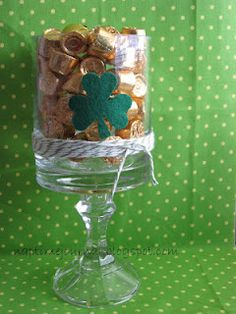 pot of gold. can make with glass and candle stick from the dollar store.