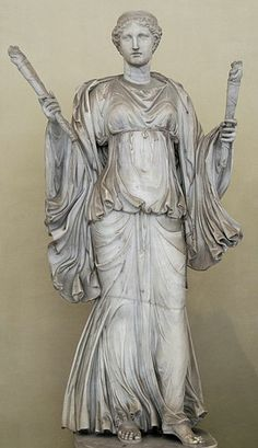 Artemis holding torches. Marble, Roman copy of the 2nd century AD after a Greek original of the 4th century BC; the unrelated head dates to the early 1st century AD.Museo Chiaramonti, section XVI, no.1