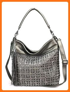 393184ec4f Zzfab Coin Circle Sparkle Hobo Bag with Tassel Pewter - Shoulder bags  ( Amazon Partner