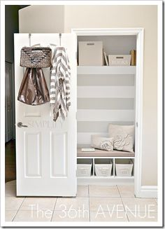 Transform the front entry closet into a mudroom/drop-off station. So smart because who ever even uses their front closet for anything other than the vacuum anyways? LOVE THE USE OF BACK OF DOOR. Entry Closet, Front Closet, Hall Closet, Closet Bedroom, Closet Nook, Closet Redo, Closet Paint, Closet Bench, Shoe Closet