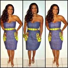 Ankara Print And Denim Short Strapless Dress , Strapless Africa Print Dress, Blue And Yellow African Print Dress