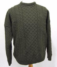 Carraig Donn Sweater XL Green Heavy Pure Irish Aran Wool Fisherman Knit Pullover #CarraigDonn #Crewneck
