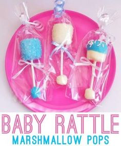 Baby rattle marshmallow pops - a cute baby shower favor! by Cathi-d