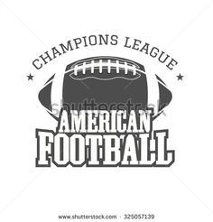 American football champions league badge, logo, label, insignia in retro color style. Graphic vintage design for t-shirt, web. Monochrome print isolated on a dark background. Vector illustration