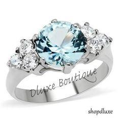 Women's Stainless Steel Round Cut London Blue Light Topaz CZ Ring Band Size 5-10 #SolitairewithAccents