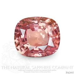 """2.20 Ct. Cushion Padparadscha Sapphire -  The term """"padparadscha"""" is derived from the Singhalese word for an aquatic lotus blossom, which has an unusual salmon color.  Many agree that padparadschas straddle the color boundary between pink and orange, yet after decades of debate, collectors, dealers, and gemologists cannot agree on a uniform standard for the padparadscha color range."""