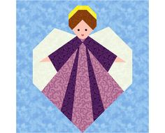 christmas quilt blocks free pattern   Guardian Angel paper pieced quilt block pattern INSTANT DOWNLOAD PDF