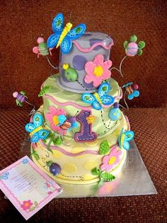 Pretty and Bright Butterfly Cake