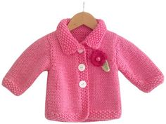 Knit baby cardigan sweater with collar