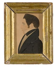 New England, ca 1825. A Justus Dalee (1793-1878) miniature portrait of a gentleman. A half-length profile portrait, painted in watercolor, graphite and ink on paper. On verso, in graphite on wooden panel Artist J.Dalee / New England/ circa 1825. In original gilt frame; 3 x 2 in.