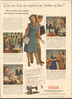 Vintage Magazine Ad Singer Sewing Machines 1944