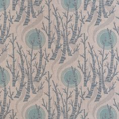 Angie Lewin's forthcoming fabric and wallpaper, 'Birch Tree Sun', originated from hand cut linocut blocks and inspired by her 2006 wood engraving 'Five Trees' and her 2010 screen print 'Winter Birches' http://www.stjudesfabrics.co.uk/collections/our-range/products/birch-tree-sun
