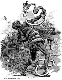 'In the Rubber Coils', a Punch cartoon of 1906, shows King Leopold's stranglehold on the Congo. The brutal treatment of the Congolese people by King Leopold eventually caught international attention and he was forced to abandon the country.