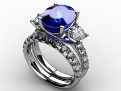 sapphire (natural) with lab-grown blue diamonds (D.NEA) - custom rings from derco in SF