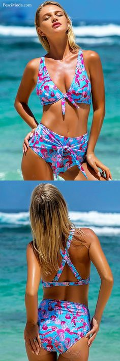 5045389c9d4 80% OFF Women's Sea Blue Printed High Waisted Bikini Swimsuits plus  #FREESHIPPING #swimsuits