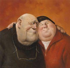 Marius van Dokkum , Named: Hug (Dutch Artist and Illustrator) Hugs, Fat Art, Dutch Painters, Dutch Artists, Naive Art, People Art, Funny Art, Happy People, Figure Painting