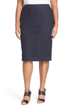 Sejour Denim Pencil Skirt (Plus Size) available at #Nordstrom