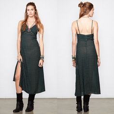DENIM & SUPPLY Plaid Slip Dress XS Denim & Supply by Ralph Lauren. Made from lightweight georgette with an allover green plaid pattern and black lace inserts at the neckline and the empire waist. Size XS. NWT. Ralph Lauren Dresses Maxi