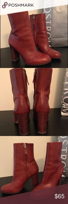 Sam Edelman Reyes -SOLD OUT EVERYWHERE Comfortable,soft leather, all over Instagram. Damage is from glue, does not interfere with functionality, got a lot of compliments. Cognac color.  Tags: block heel boot bootie ankle shoe heel leather soft Sam Edelman leather unique blogger favorite style 🛍 Make me an offer! Sam Edelman Shoes Ankle Boots & Booties