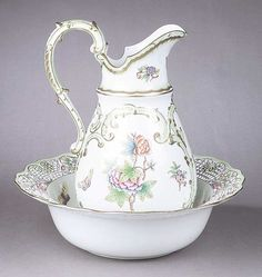 A Herend Porcelain Pitcher and Basin , in the Queen Victoria pattern,