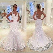 Sheath V-neckline Open Back Lace Wedding Dresses