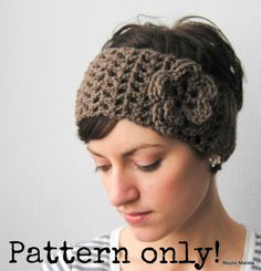 PDF Pattern for Crochet Earwarmer Headwrap and Flower with Permission to Sell What You Make