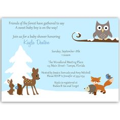 Winter Forest Friends Blue Baby Shower Invitation - Invite guests to your boy baby shower with this winter themed invitation featuring an owl, a deer, fox, bird, and rabbit in the snow. Baby Shower Winter, Baby Boy Shower, New Years Eve Day, Forest Friends, Winter Theme, Shower Party, Baby Shower Invitations, Winter Wonderland, Baby Blue