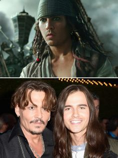 """How Johnny Depp dropped 25 years for his 'Pirates' flashbacks  - The face in the flashback scenes of the new """"Pirates of the Caribbean"""" movie (top) digitally merges those of actors Johnny Depp and Anthony de la Torre (bottom). (Photo by Marc Flores/Getty Images for Disney)"""