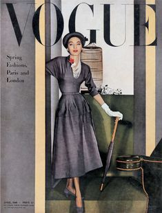 April 1948: Cotton is the most important fabric of the season for dresses, while Dior pencil skirts & jackets are the 2 must-have items from the Paris Collections. Balenciaga is credited with bringing back high waist, or empire waistlines & other designers are beginning to follow suite.
