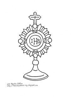 Blessed Sacrament Catholic Coloring Page. (April is the Month Dedicated to the Holy Eucharist.)