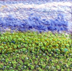 Green embroidered meadow beaded fabric stitched by StitchMikki