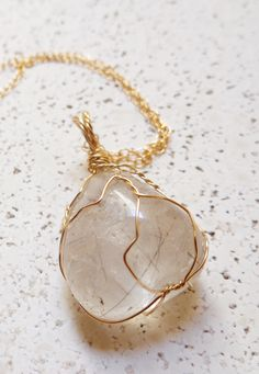 Wire Wrapped Rutilated Quartz Pendant made in 14K Gold Filled, perfect for layering for a bohemian look