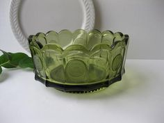 Vintage Fostoria Glass Olive Green Round Coin Bowl by jenscloset, $19.50