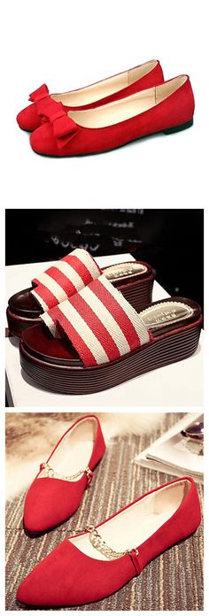 Cute red shoes for summer. Comfortable and cool, right? Check them out!