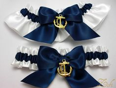 Garter set in white and navy blue satin with navy by ZofiDesign, $29.99