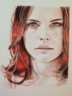 Ballpoint pen drawing of Jaimie Alexander by chaseroflight on DeviantArt