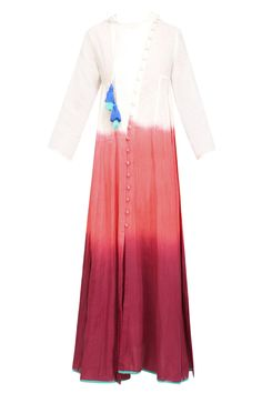 Plum, white and orange dip dyed calf length chi dress available only at Pernia's Pop Up Shop.