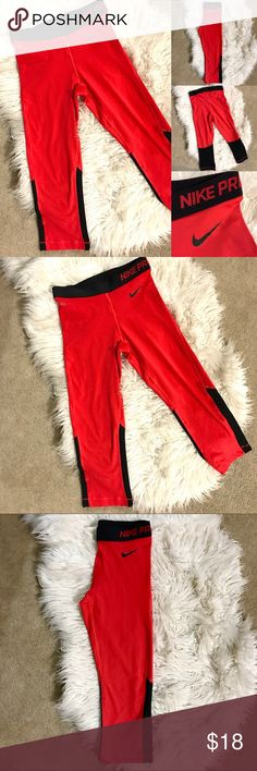(New w/o Tags) Nike Pro Dri-Fit Cropped Leggings Super soft material! Bought them but never wore them. Only tried them on. They are brand new condition. Black/Red color. Nike Pants Leggings