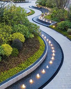 ASL Artson Landscape collected to the commercial square _ petals Landscape And Urbanism, Landscape Architecture Design, Garden Landscape Design, Urban Landscape, Architecture Drawing Plan, Landscape Lighting Design, Parking Design, Garden Fountains, Modern Landscaping