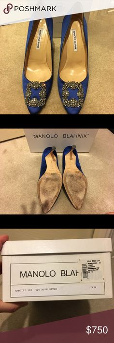 Manolo Blahnik hangisi blue satin pump Manolo Blahnik blue satin hangisi pump in size 39 (US 9). Only worn twice.  Once on my wedding day and one other time.  Satin in great condition with minor line with discoloration on right toe. See picture 8.  I love these shoes and wanted to wear them more but sadly I have wide feet and they are a little tight. They are too beautiful to sit in my closet.  Comes with original box with Manolo Blahnik tissue paper and dust bags. Manolo Blahnik Shoes Heels