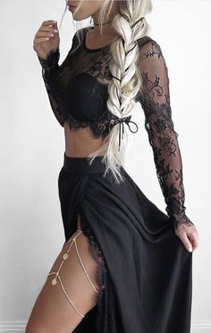 black 2 piece prom dresses, 2 piece prom dresses for women, women's black dresses, prom dresses with lace, legjewelly, split side prom dresses, sexy black prom dresses