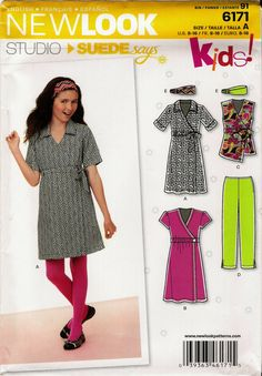 Junior's Five Sizes in One Sewing Pattern. Dress, Shirt, Pants and Headband. AKA New Look 0175
